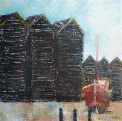 Hastings Huts with red boat