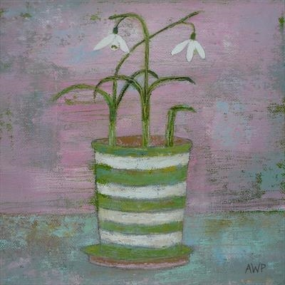 Snaky Snowdrops In Striped Pot