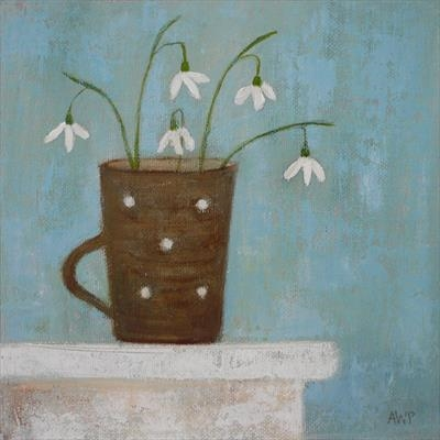 Snowdrops In Brown Mug