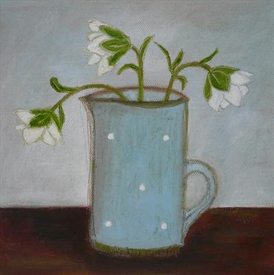 Hellebores In Blue Spotty Jug