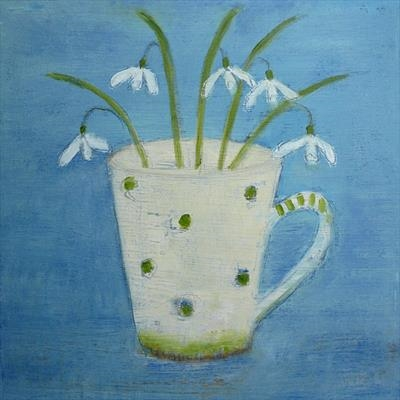 Five Snowdrops On Blue