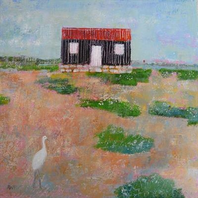 Egret At The Red Hut