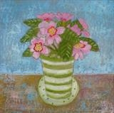 A Present of Pink Primroses by Anna Wilson-Patterson, Painting, Oil on Board