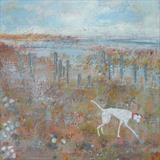 Alfie At The Groynes by Anna Wilson-Patterson, Painting, Oil on Wood