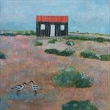 Avocets At The Red Hut by Anna Wilson-Patterson, Painting, Oil on Wood