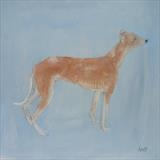 Baby Whippet by Anna Wilson-Patterson, Painting, Oil on Wood
