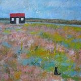 Black Cat At The Red Hut by Anna Wilson-Patterson, Painting, Oil on Wood