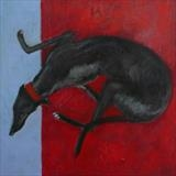 Black Greyhound On A Red Blanket by Anna Wilson-Patterson, Painting, Oil on Wood