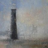 Black Lighthouse Dungeness by Anna Wilson-Patterson, Painting, Oil on panel