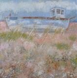 Blue Boat Dungeness by Anna Wilson-Patterson, Painting, Oil on Board
