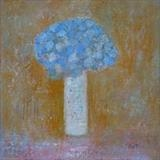 Blue Hydrangea Head by Anna Wilson-Patterson, Painting, Oil on Board