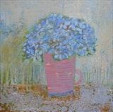 Blue Hydrangea In Pink Cup by Anna Wilson-Patterson, Painting, Oil on Board