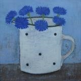 Cornflowers In A White Gopsall Jug by Anna Wilson-Patterson, Painting, Oil on Wood
