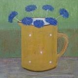 Cornflowers In A Yellow Gopsall Jug by Anna Wilson-Patterson, Painting, Oil on Wood