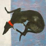 Curly Hound by Anna Wilson-Patterson, Painting, Oil on Wood