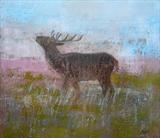 Dawn Deer by Anna Wilson-Patterson, Painting, Oil on Wood