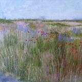 Dungeness Wildflowers by Anna Wilson-Patterson, Painting, Oil on Wood