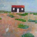 Egret At The Red Hut by Anna Wilson-Patterson, Painting, Oil on Wood