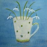 Five Snowdrops On Blue by Anna Wilson-Patterson, Painting, Oil on Wood