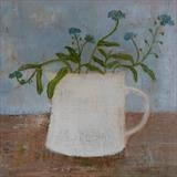 Forget-Me-Nots In A White Gopsall Cup by Anna Wilson-Patterson, Painting, Oil on Wood