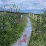 Fox In The Sweet Pea Path by Anna Wilson-Patterson, Painting, Oil on Wood
