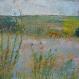Fox On The Ridge, Winchelsea Beach by Anna Wilson-Patterson, Painting, Oil on Wood