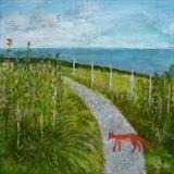 Fox On The Sweet Pea Path by Anna Wilson-Patterson, Painting, Oil on Wood