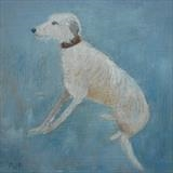 Gentle Lurcher by Anna Wilson-Patterson, Painting, Oil on Wood