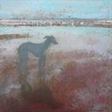 Greyhound At Beach by Anna Wilson-Patterson, Painting, Oil on panel