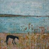 Greyhound At Long Pit, Winchelsea Beach by Anna Wilson-Patterson, Painting, Oil on Wood