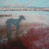 Greyhound At Winchelsea Beach Card by Anna Wilson-Patterson, Painting, Ink on Paper