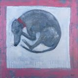 Greyhound First Night by Anna Wilson-Patterson, Painting, Oil on Wood