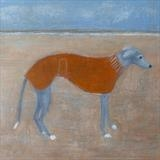 Greyhound In Orange Coat by Anna Wilson-Patterson, Painting, Oil on Wood