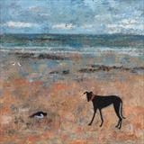 Greyhound Meets Oystercatcher by Anna Wilson-Patterson, Painting, Oil on Wood