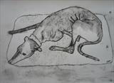 Greyhound On Blanket by Anna Wilson-Patterson, Artist Print