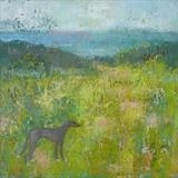 Greyhound On Firehills by Anna Wilson-Patterson, Painting, Oil on Wood