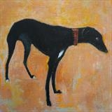Greyhound On Golden Sand by Anna Wilson-Patterson, Painting, Oil on Wood