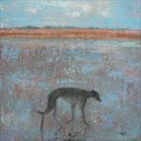 Greyhound On Sand by Anna Wilson-Patterson, Painting, Oil on panel