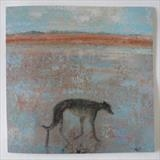 Greyhound On Winchelsea Sand Card by Anna Wilson-Patterson, Painting, Ink on Paper