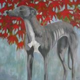 Greyhound Under Acer by Anna Wilson-Patterson, Painting, Oil on canvas