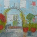 Greyhound Under Rose Arch by Anna Wilson-Patterson, Painting, Oil on Wood