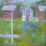 Greyhound and Three Sheds by Anna Wilson-Patterson, Painting, Oil on Wood