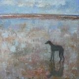 Greyhound at March Tide by Anna Wilson-Patterson, Painting, Oil on Wood