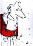 Greyhound in Red Coat by Anna Wilson-Patterson, Artist Print