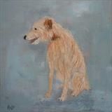 Hairy Hound by Anna Wilson-Patterson, Painting, Oil on Wood
