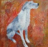 Hairy Lurcher by Anna Wilson-Patterson, Painting, Oil on canvas