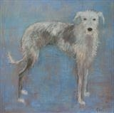 Hairy Lurcher by Anna Wilson-Patterson, Painting, Oil on Wood
