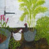 Happy Hens by Anna Wilson-Patterson, Painting, Oil on Wood