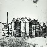 Hastings Huts & Boat by Anna Wilson-Patterson, Artist Print, Hand Print