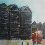 Hastings Huts and Red Boat Card by Anna Wilson-Patterson, Painting, Ink on Paper